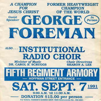 Flyer Advertising George Foreman as a Guest Speaker at a Religious Event - Posters and Prints