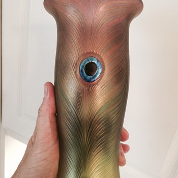 Blown Peacock Feather Glass Vase