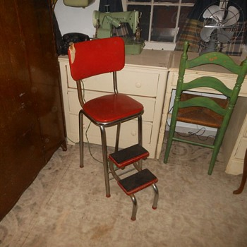 Vintage Kitchen Stool With Folding Steps - Furniture