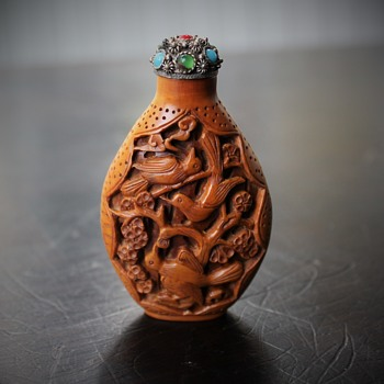 Carved Wood Snuff Bottle