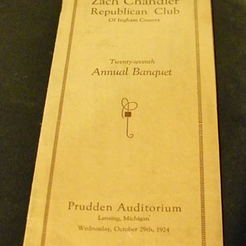 1924 Zach Chandler Republican Club of Ingham County  Program (Michigan) - Paper