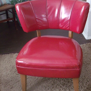 Kroehler Red Retro Vinyl Chair with Inspection Stamp - Furniture