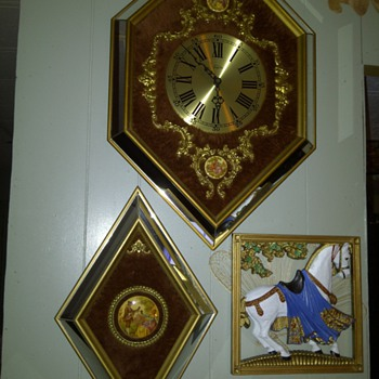 Empire Clock with fur and Godey decorated