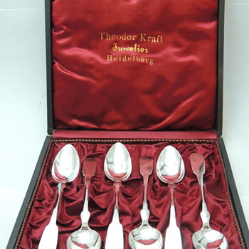 Set 6 Teaspoons by Theodor Kraft Juwelier Heidelberg - 750 K - Sterling Silver