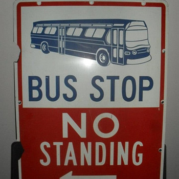 """1960s New York City """"BUS STOP"""" sign - Signs"""