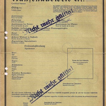 German Nansen passport - SPECIMEN - Paper