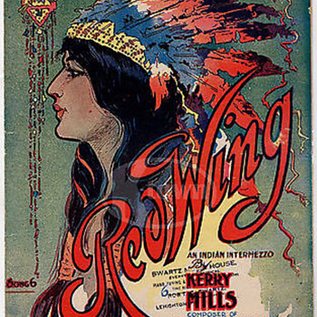 "SHEET MUSIC,ART NOUVEAU 1907 ""RED WING"" INDIAN-INTERMEZZO, Kerry Mills."