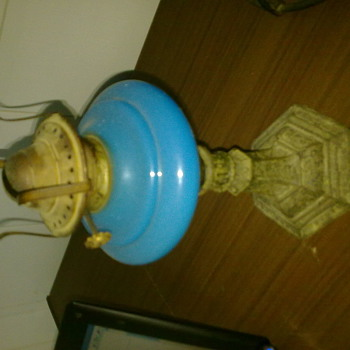 blu antique lantern