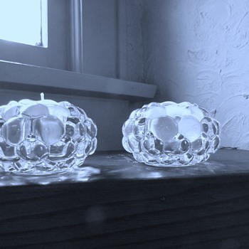 Orrefors&#039; &quot;Raspberry&quot;/Hellon Crystal Votives &amp; Kosta Boda &quot;Snowball&quot; Votive - Art Glass