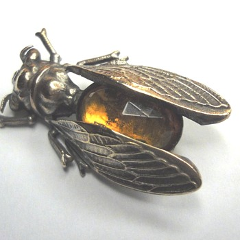 Art Deco Silver Gilt Insect Brooch - Art Deco
