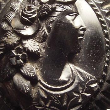 Gutta Percha Victorian Brooch ( Mourning )