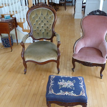 Family antique chairs and foot stool...