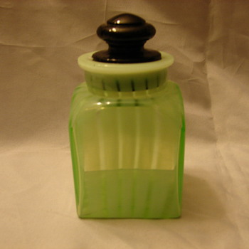 Vaseline Glass Jar With Lid. - Art Glass