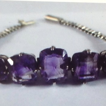 Antique solid Silver and Amethyst bracelet