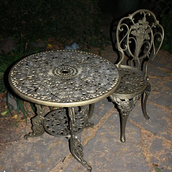 'Brass' table and chair - victorian? or a knock-off?