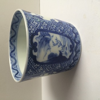 Blue & White Chinese Cup Hand Painted Signed