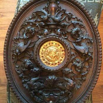 Antique carved oval plaque (HELP)   - Folk Art
