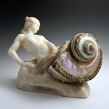 Franz Peleska-Lunard Art Nouveau Alabaster & Shell Sculptural Lamp