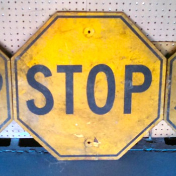 Yellow Wood Stop Signs