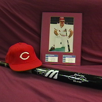 Game Used Pete Rose Autographed  Bat and Cap