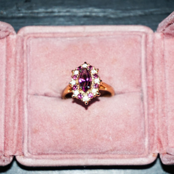 Amethyst & Rhinestone Gold Tone Ring - Costume Jewelry