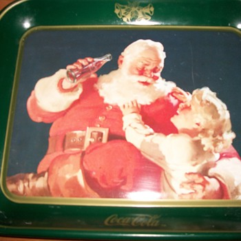 Coca-Cola Christmas Tray with girl - Coca-Cola