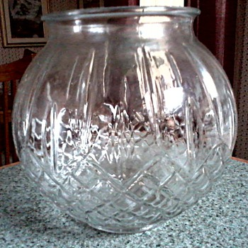 Diamond and Line Pattern Clear Glass Globe Vase / Elaborate Mystery Mark on Bottom - Art Glass