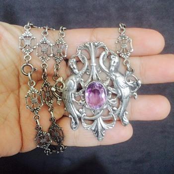 Antique Victorian German Amethyst Pheonix? Bookchain 800 Silver Lavalier Necklace  - Art Nouveau