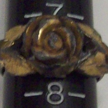 Vintage/Antique Gold Plated Brass Rose Ring - Costume Jewelry