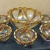 U. S. Glass Blazing Cornucopia aka Paisley Berry Set Gold Stain, 1913