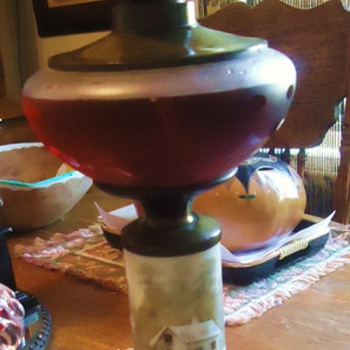 "Grandmothers oil lamp, Mother made electric, now I made Oil last night!  Milk Glass painting ""Cabin in Snow"""
