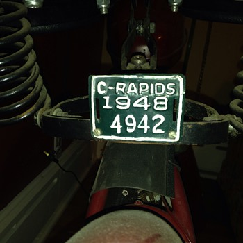 1948 Cedar Rapids motorcycle license plate - Motorcycles