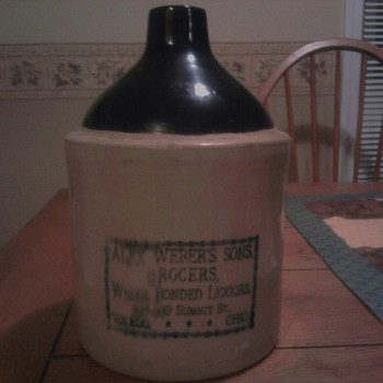 Late 1800s/Early 1900s Alex Weber's Sons Grocers Stoneware Whiskey Jug - Art Pottery