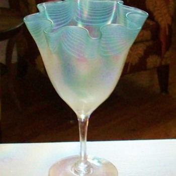 Rare Steuben Decorated Verre de Soie Vase - Art Glass