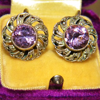 Vintage Deco Amethyst Marcasite 835 Silver Earrings Germany  - Fine Jewelry
