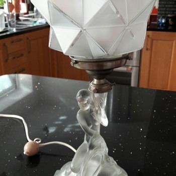 Vintage Electric table lamp made of glass