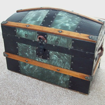 Metal Covered Toy or Doll Trunk - Furniture