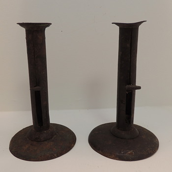 Pair of 19th Century American Hog Scraper Candlesticks