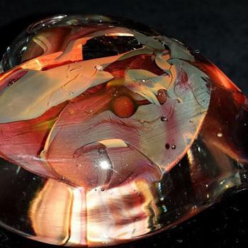 Glass Heart Paperweight - Art Glass