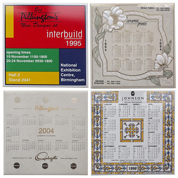 Tile manufacturers' promotional calendar tiles.