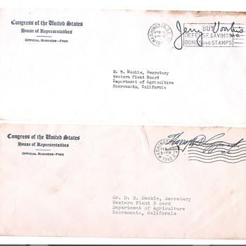 Senator signed covers-1940's - Stamps