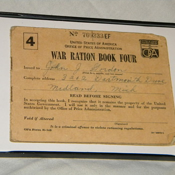 War Ration Book; WWII - Military and Wartime