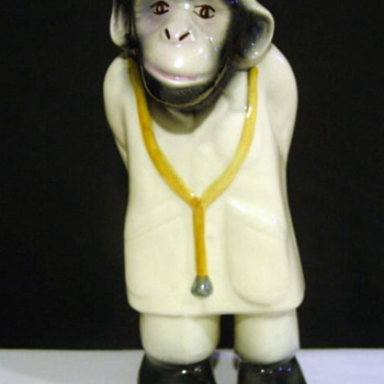 Glazed Pottery Doctor Monkey Statue - Art Pottery