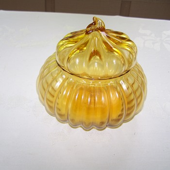 Italian Pumpkin Shaped Amber Art Glass Jar  Lid - Art Glass