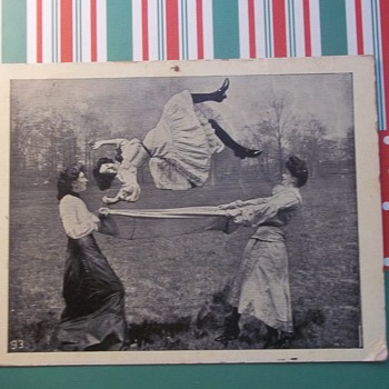 """I WAS UP IN THE AIR""  TRICK PHOTOGRAPHY? OR  HAVE THE GIRLIES THROWN HER FOR REAL, 1909"