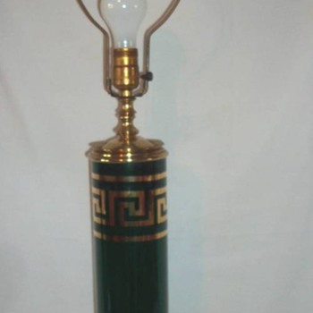 Gold Greek Key Emerald Green Glass - Lamps