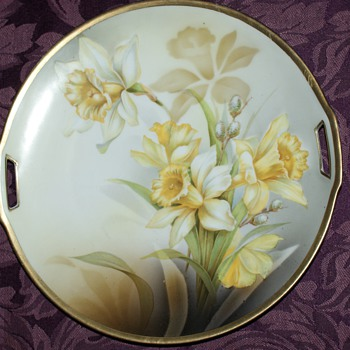 RS Germany Schlegelmilch Cake Plate Tillowitz with Daffodils - China and Dinnerware