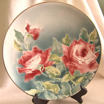 Art Nouveau K&G Luneville France Faience Charger Air Brush Roses Signed