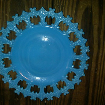 Beautiful blue milk glass plate - Glassware
