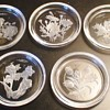 Crystal Floral Etched Coasters Val St. Lambert of Belgium